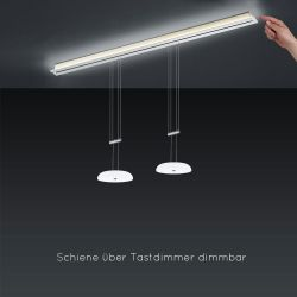 Bankamp Strada Up & Down Vanity 2144 LED-Pendelleuchte-Schiene 155 cm Länge-2-flammig-Schiene mit Dimmer-mit LED (2200K - 2700K)