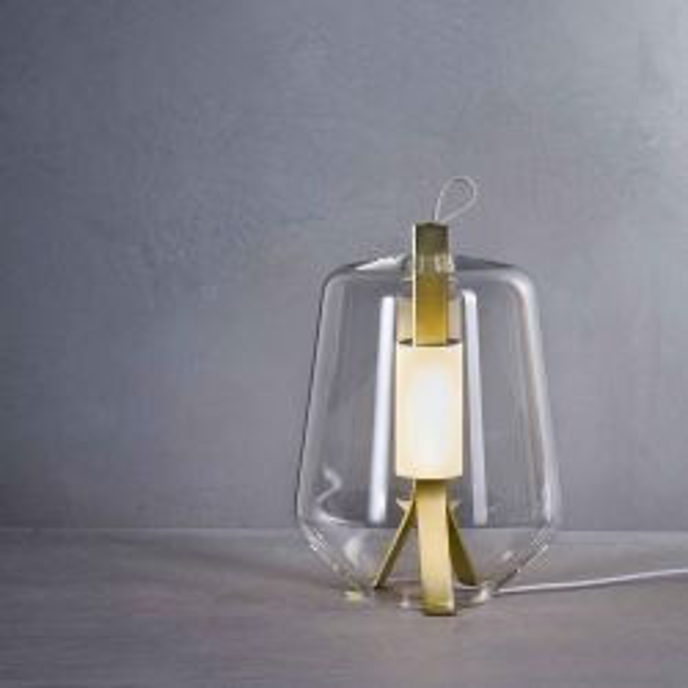 Prandina Luisa T3 LED-Tischleuchte-Messing-Glas klar-mit LED (2700K)