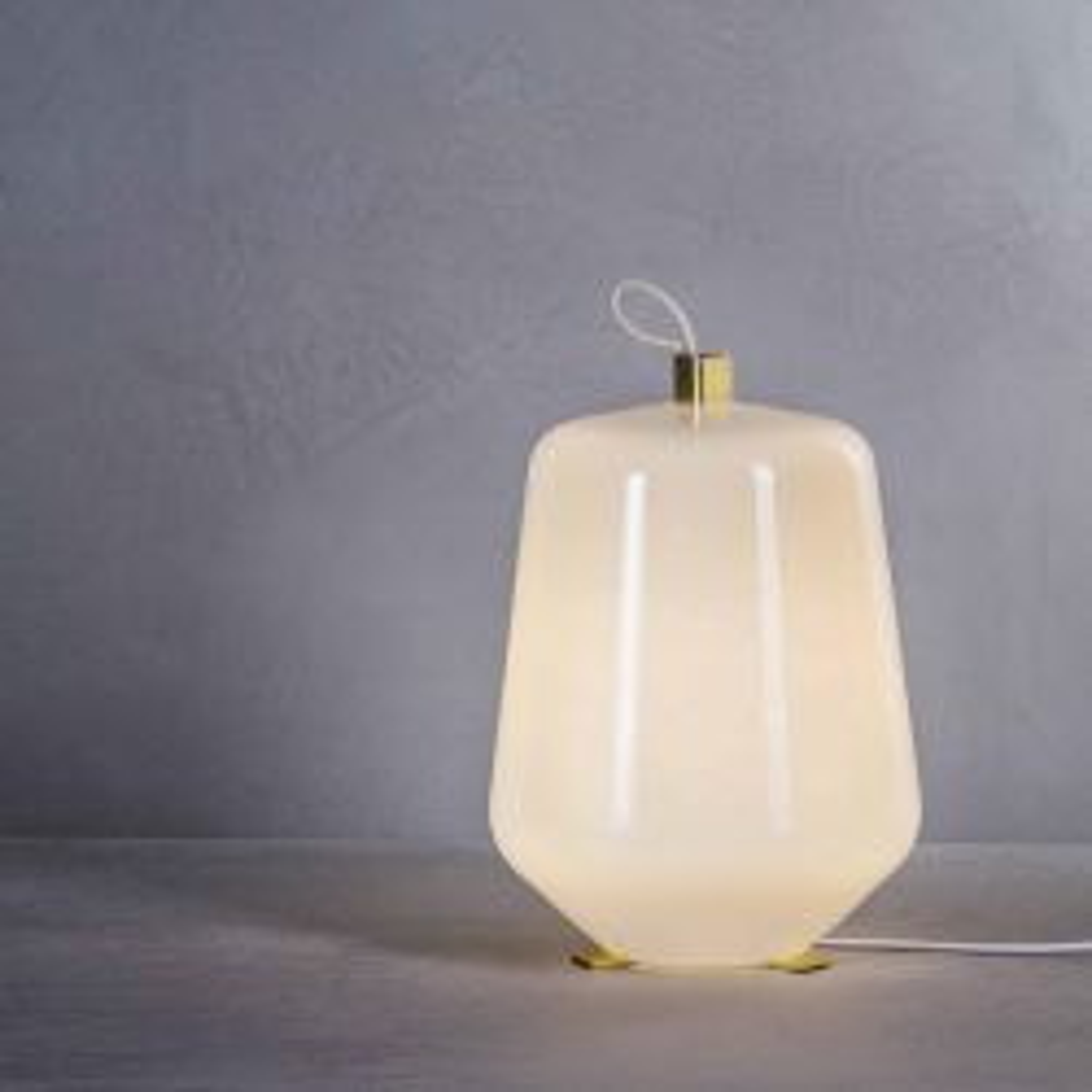 Prandina Luisa T3 LED-Tischleuchte-Messing-Weiß glänzend-mit LED (2700K)
