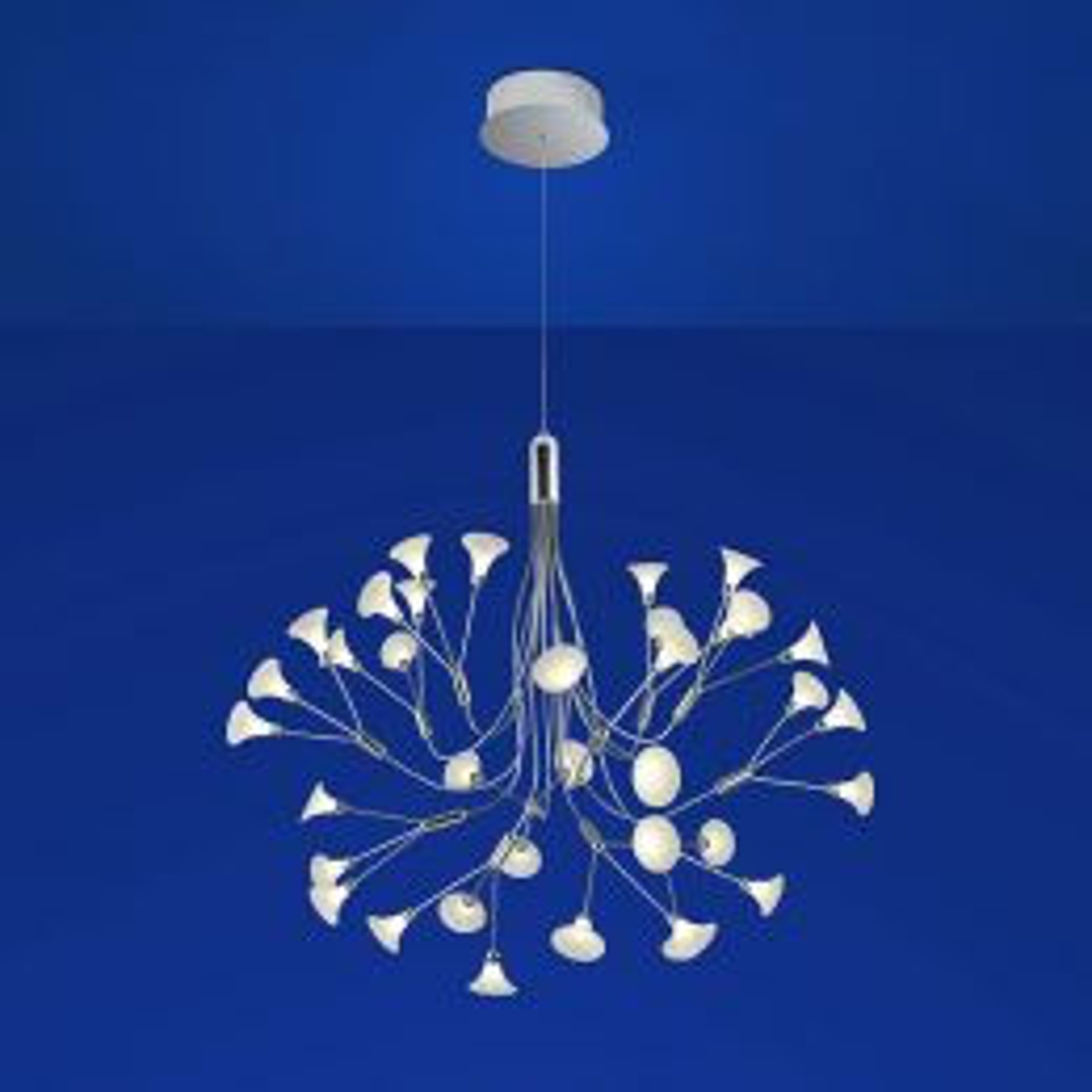 B-Leuchten Fleur 10048 LED-Pendelleuchte Chrom Alabasterglas