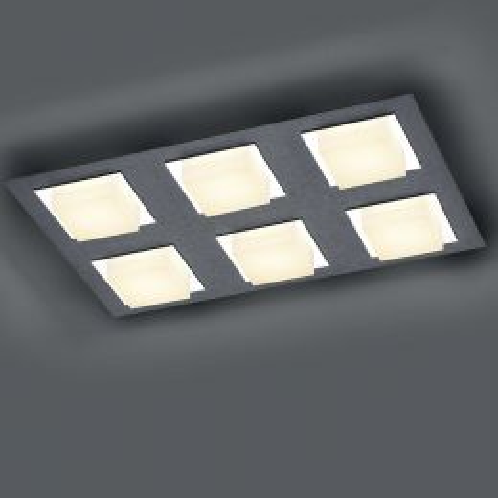 Bankamp Luno 7753 LED-Deckenleuchte 6-flammig Anthrazit matt 01