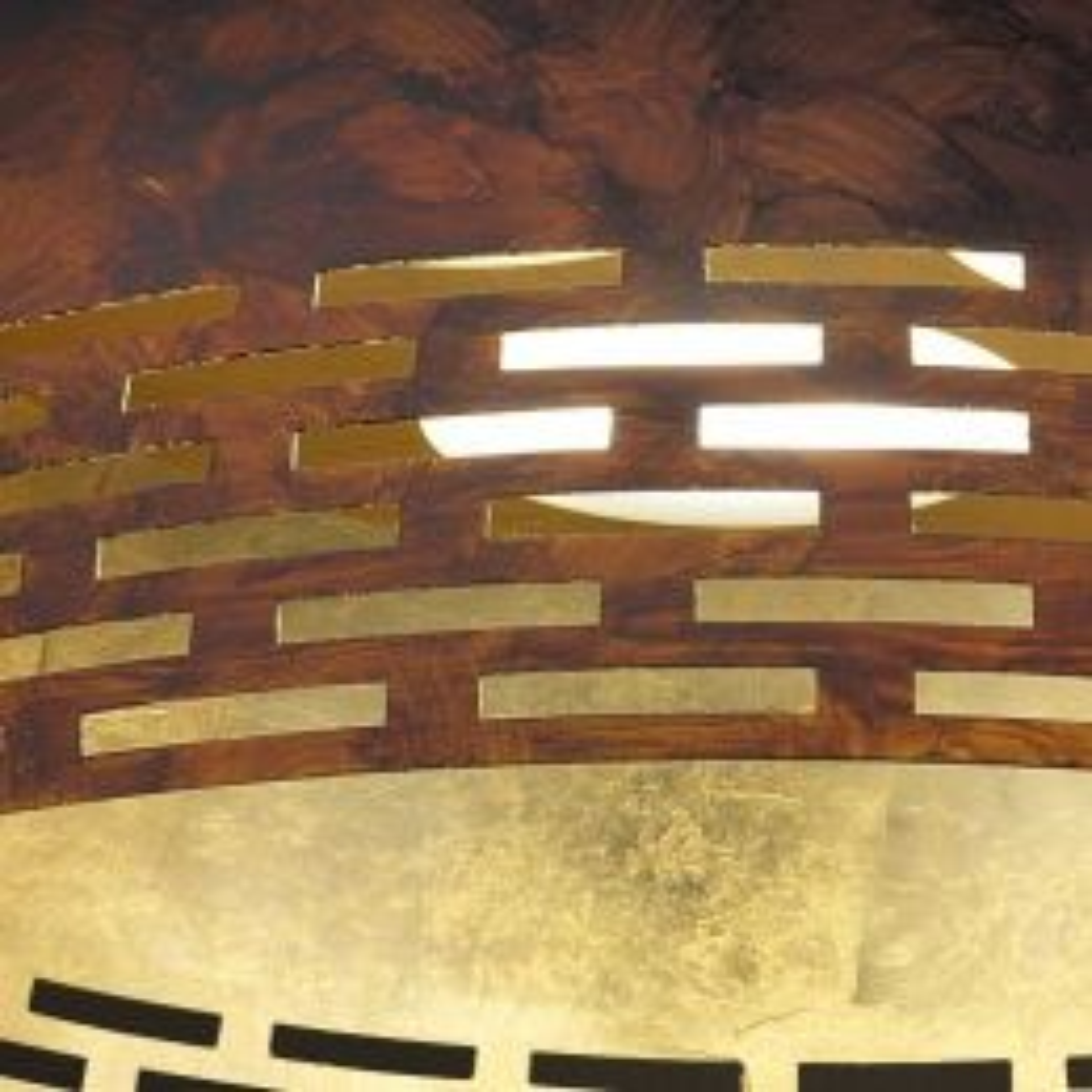 Braga Greka LED S70 LED-Pendelleuchte-Rost/Blattgold; mit LED