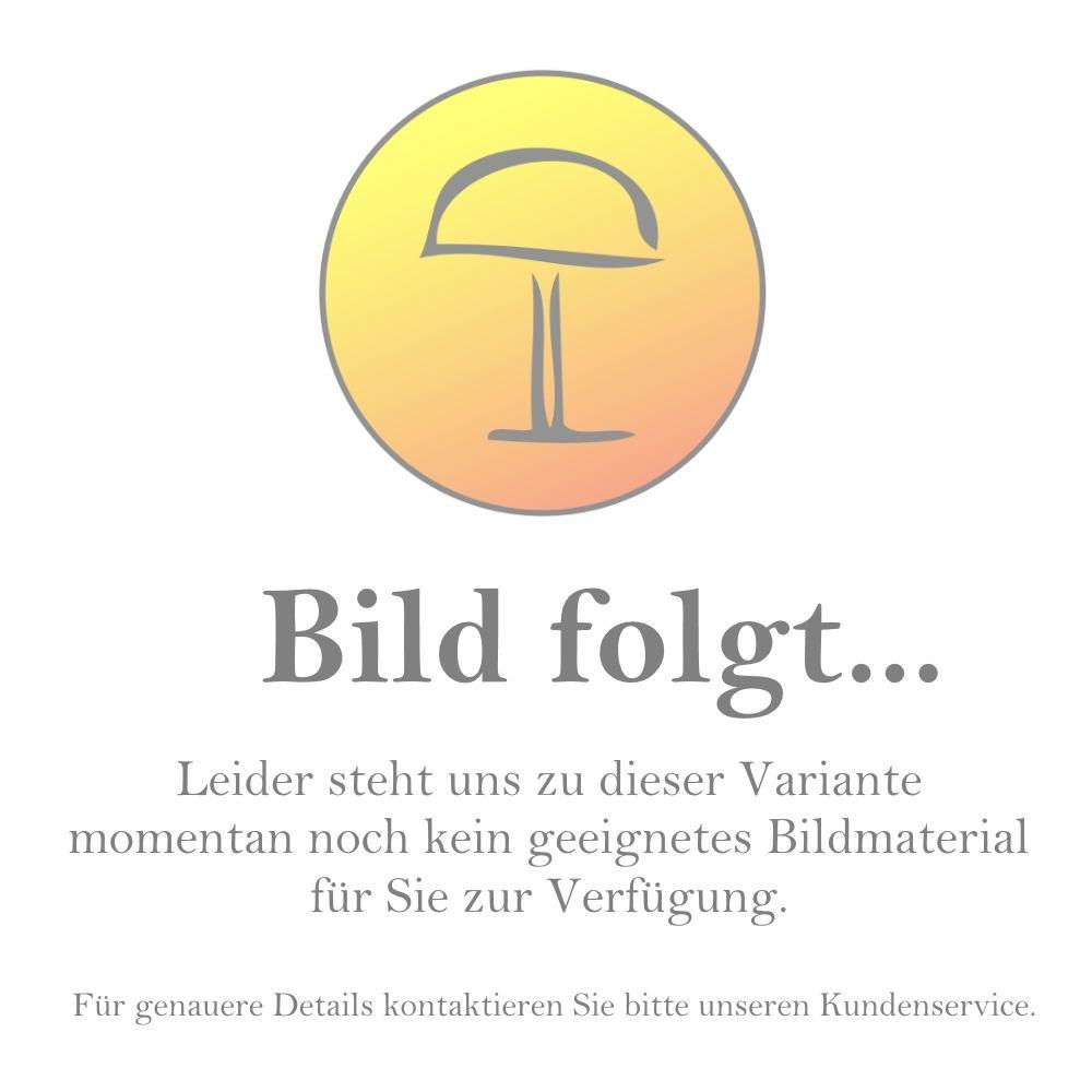 Die Ilia der deutschen Leuchtenmanufaktur Casablanca besitzt einen mattweißen Glasschirm durch den die energieeffiziente LED-Platine Licht blendfrei und diffus in den Raum abgibt. Die Helligkeit kann dabei über einen externen Dimmer nach Belieben regulier