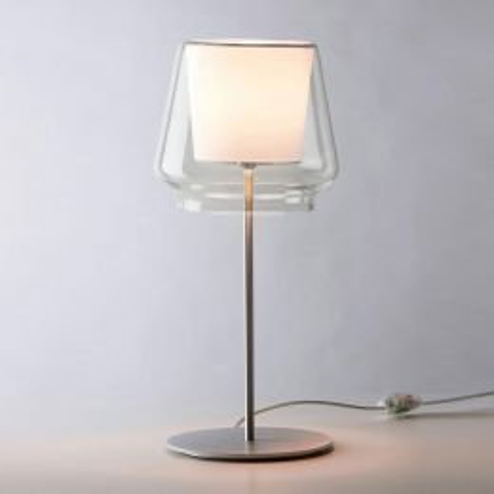 Casablanca Leuchten Aleve Tischleuchte-Aluminium gebürstet-Klarglas-Weiß-Ja