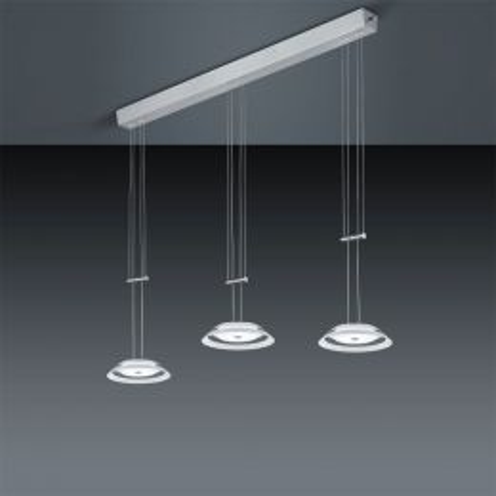 Bankamp Callas 2097 LED-Pendelleuchte 3-flammig-Nickel matt/Chrom-mit LED (2200K - 2700K)