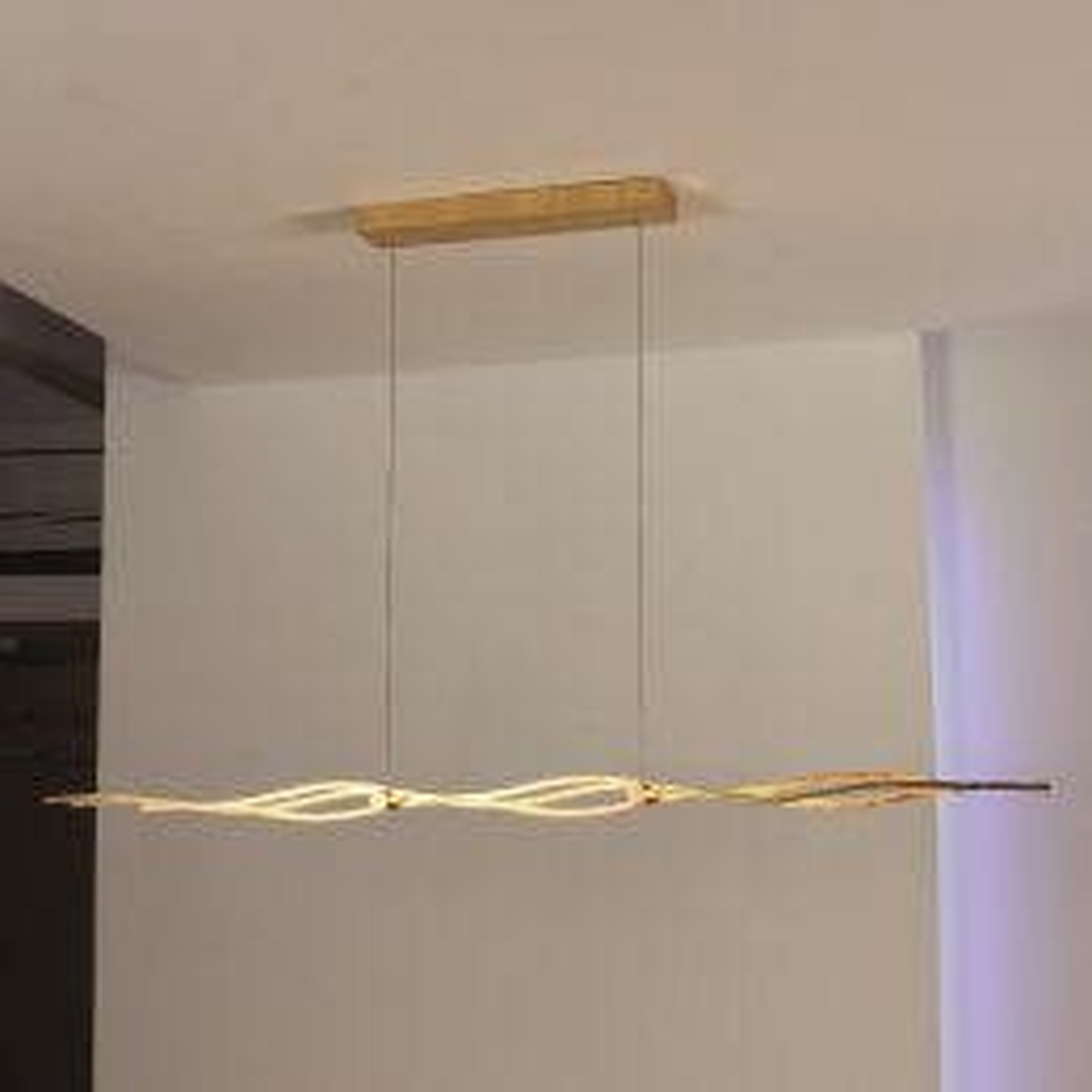 Silk LED-Pendelleuchte lang mit Druckschalter-Blattgold 440 901 09