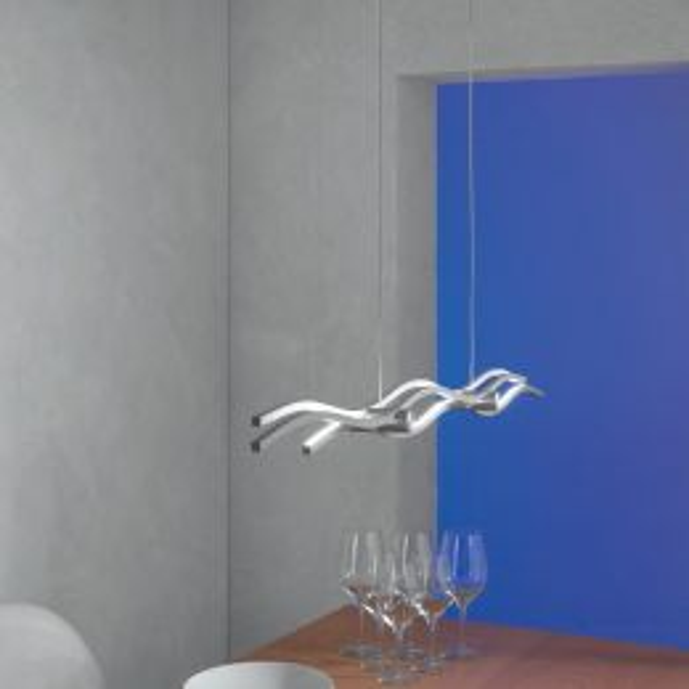 Silk LED-Pendelleuchte kurz mit Druckschalter-Alu geschliffen 40160109
