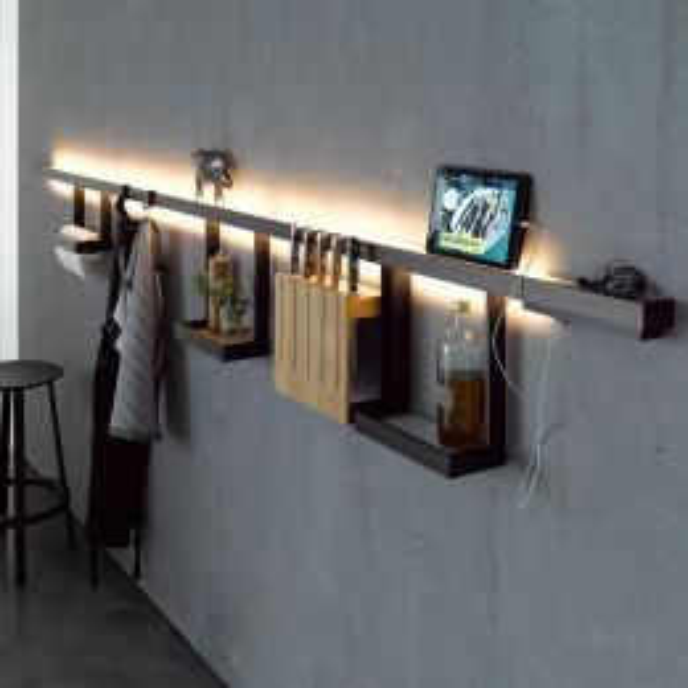 GERA Leuchten Lichtreling mit Glasablage 900