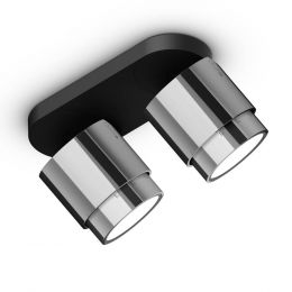 Occhio Lui Alto Doppio VOLT LED-Deckenstrahler-Schwarz/Chrom; mit LED (3000K)