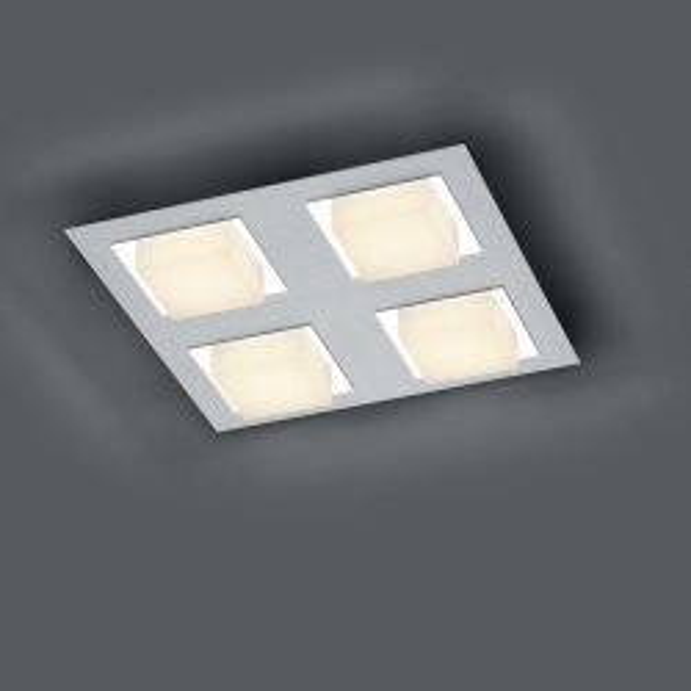 Bankamp Luno 7752 LED-Deckenleuchte 4-flammig-Silber-mit dim2warm (2200K - 2700K) 01