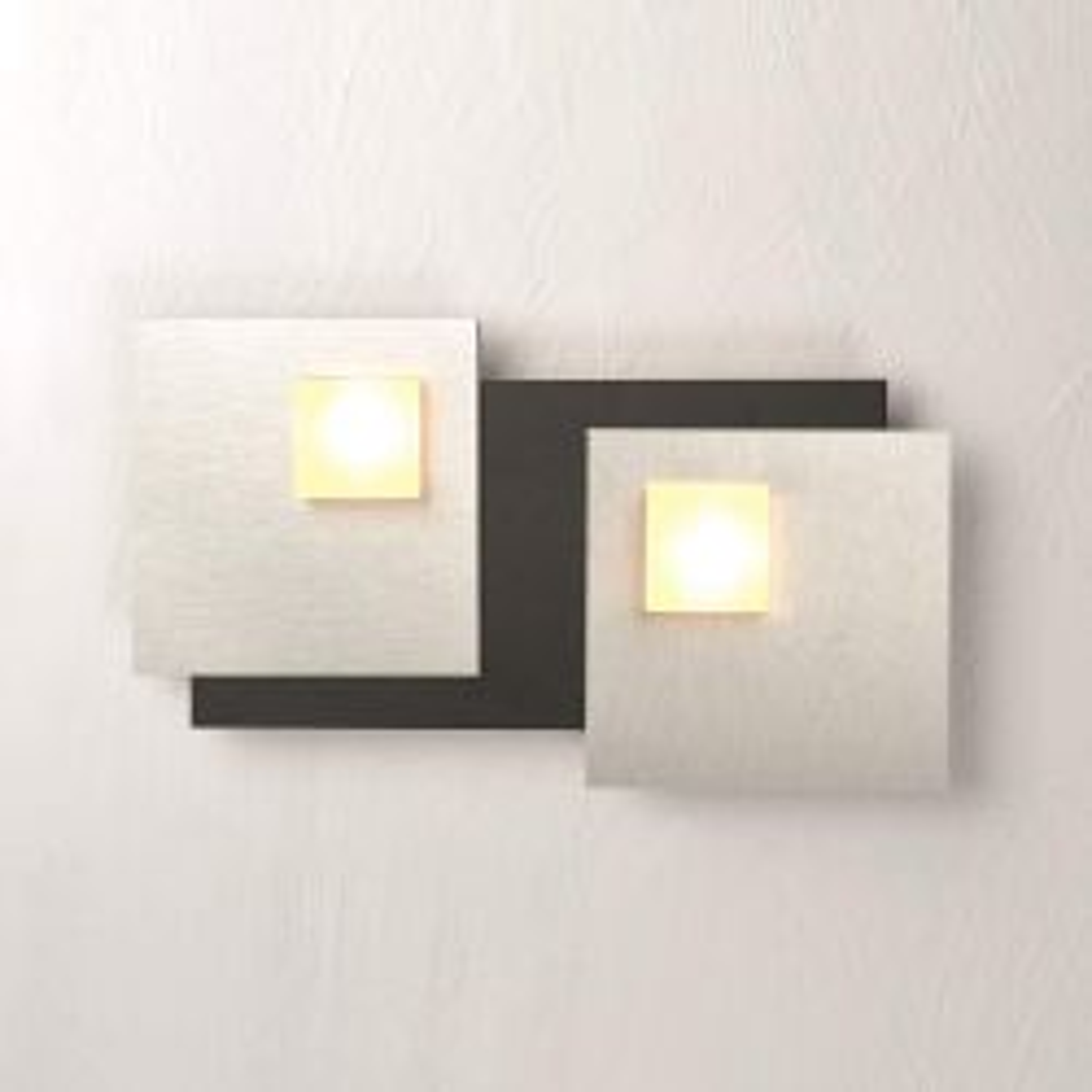 Bopp Leuchten Pixel 2.0 LED-Deckenleuchte 2-flammig-Schwarz; mit LED (2700K)-2 x Dekoplatte Aluminium