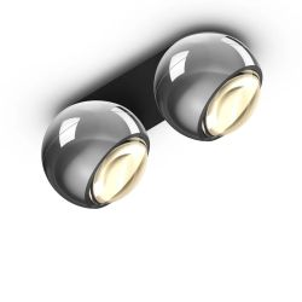 Occhio io giro doppio VOLT LED-Deckenstrahler-Kopf/head Chrom-Aufbaudose/base Schwarz matt-mit LED (3000K)