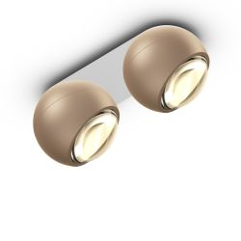 Occhio io giro doppio VOLT LED-Deckenstrahler-Kopf/head Gold matt-Aufbaudose/base Weiß matt-mit LED (3000K)