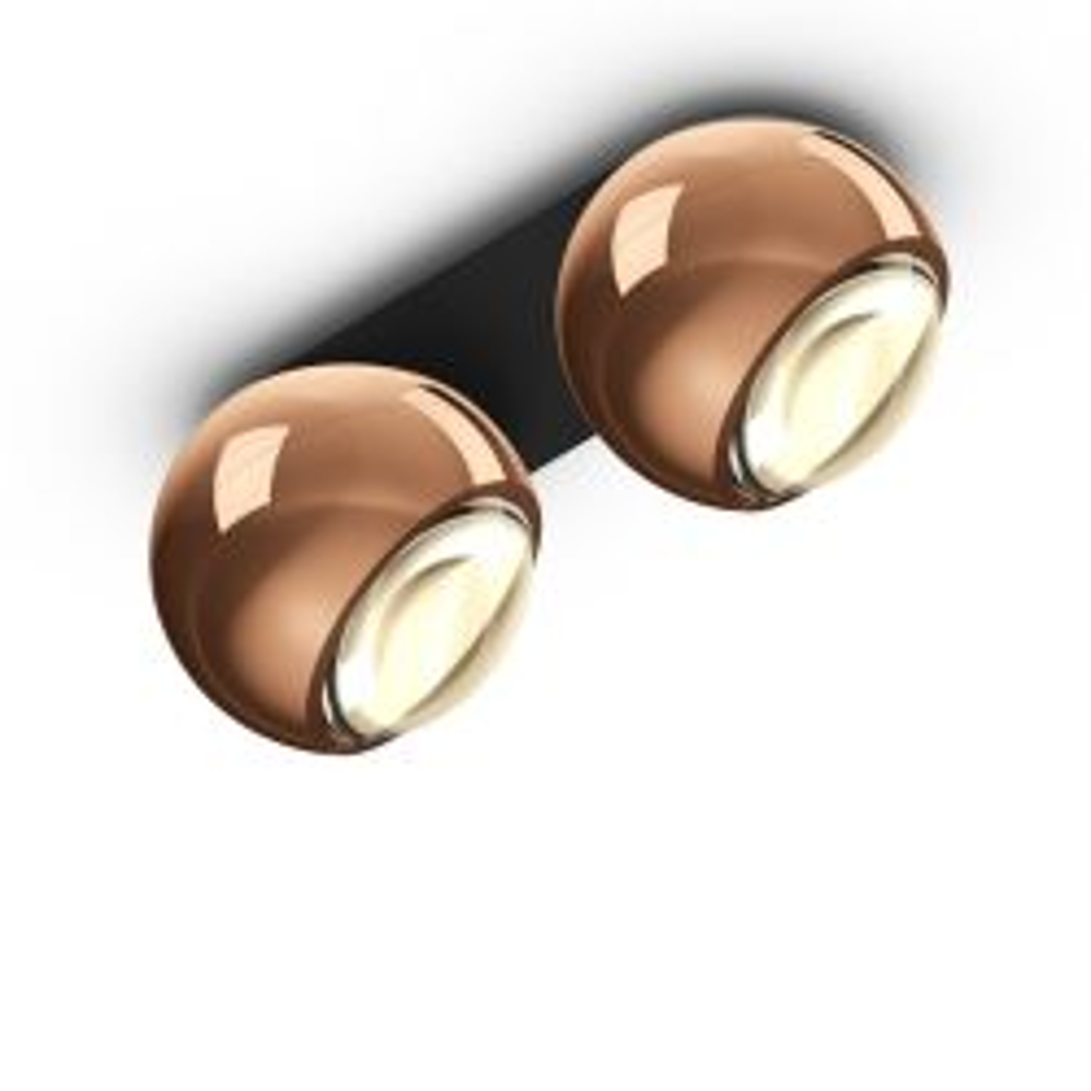 Occhio io giro doppio VOLT LED-Deckenstrahler-Kopf/head Rose Gold-Aufbaudose/base Schwarz matt-mit LED (3000K)