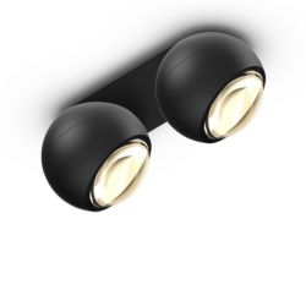 Occhio io giro doppio VOLT LED-Deckenstrahler-Kopf/head Schwarz matt-Aufbaudose/base Schwarz matt-mit LED (3000K)