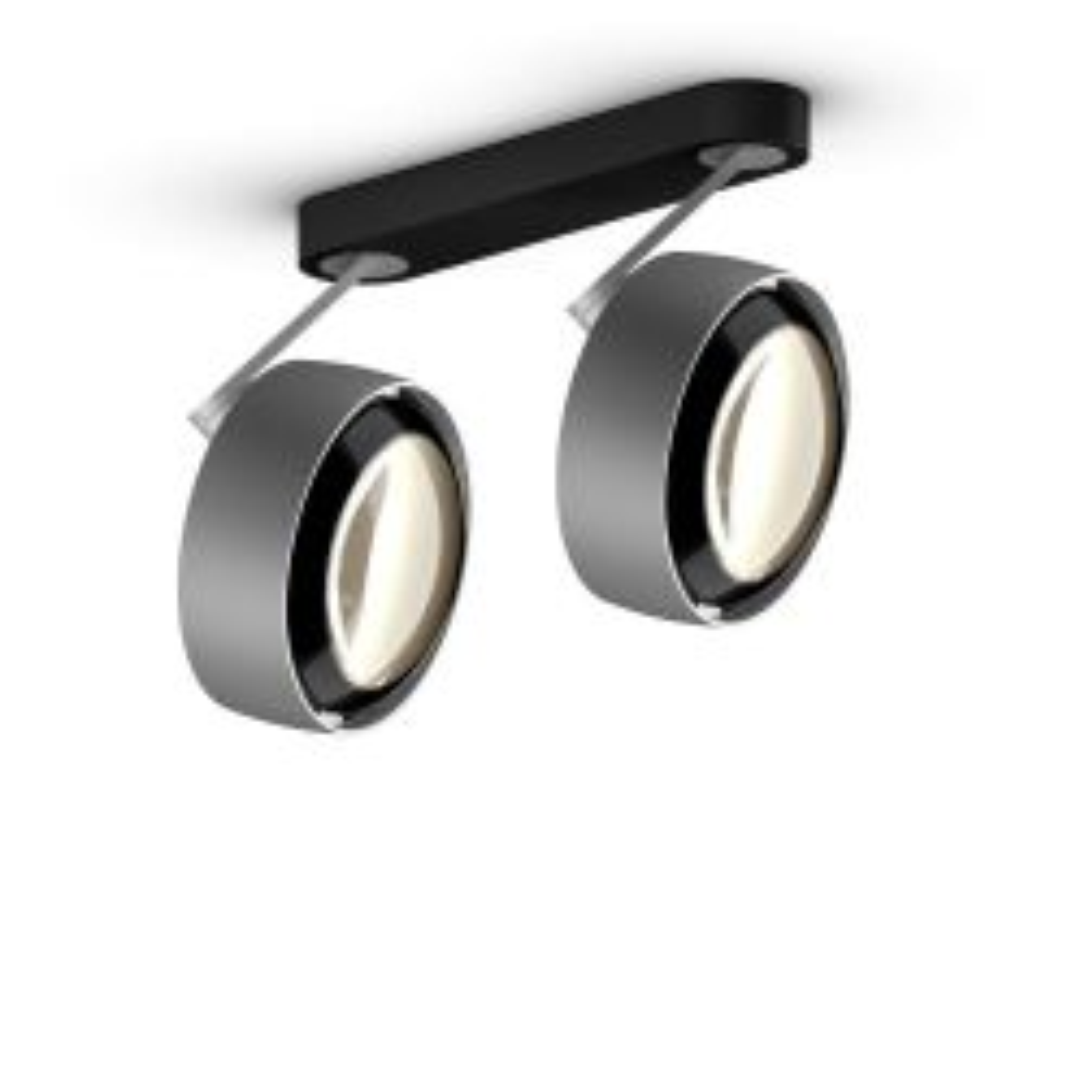 Occhio Piu alto 3d doppio VOLT mit C 80-Aufbaudose/base Schwarz matt-Kopf/head Chrom matt-Körper/body Chrom matt-mit LED (2700K)