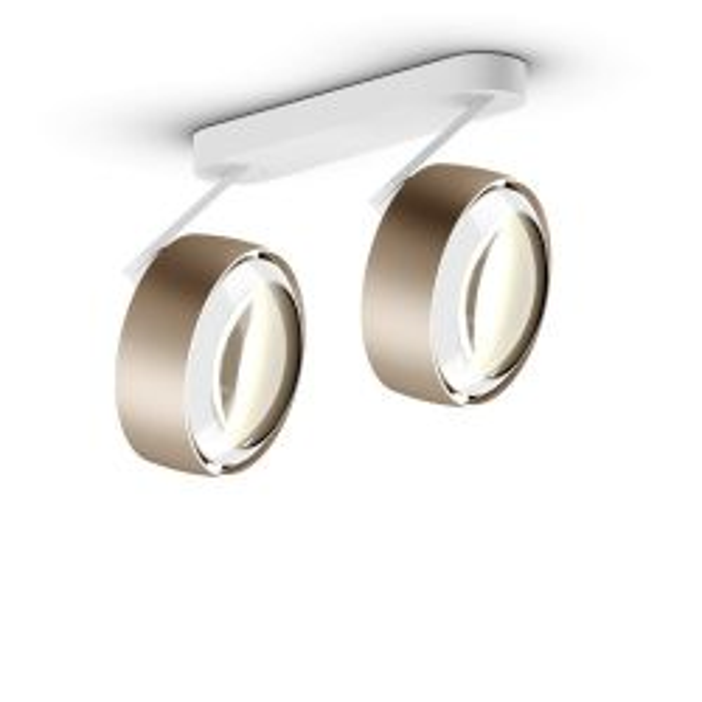 Occhio Piu alto 3d doppio VOLT mit C 80-Aufbaudose/base Weiß matt-Kopf/head Gold matt-Körper/body Weiß matt-mit LED (2700K)