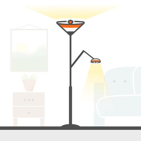 Fluter mit Leseleuchte von vielen Markenherstellern bei lampenonline kaufen
